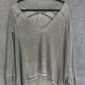Free People Green Distressed Thermal Sweater